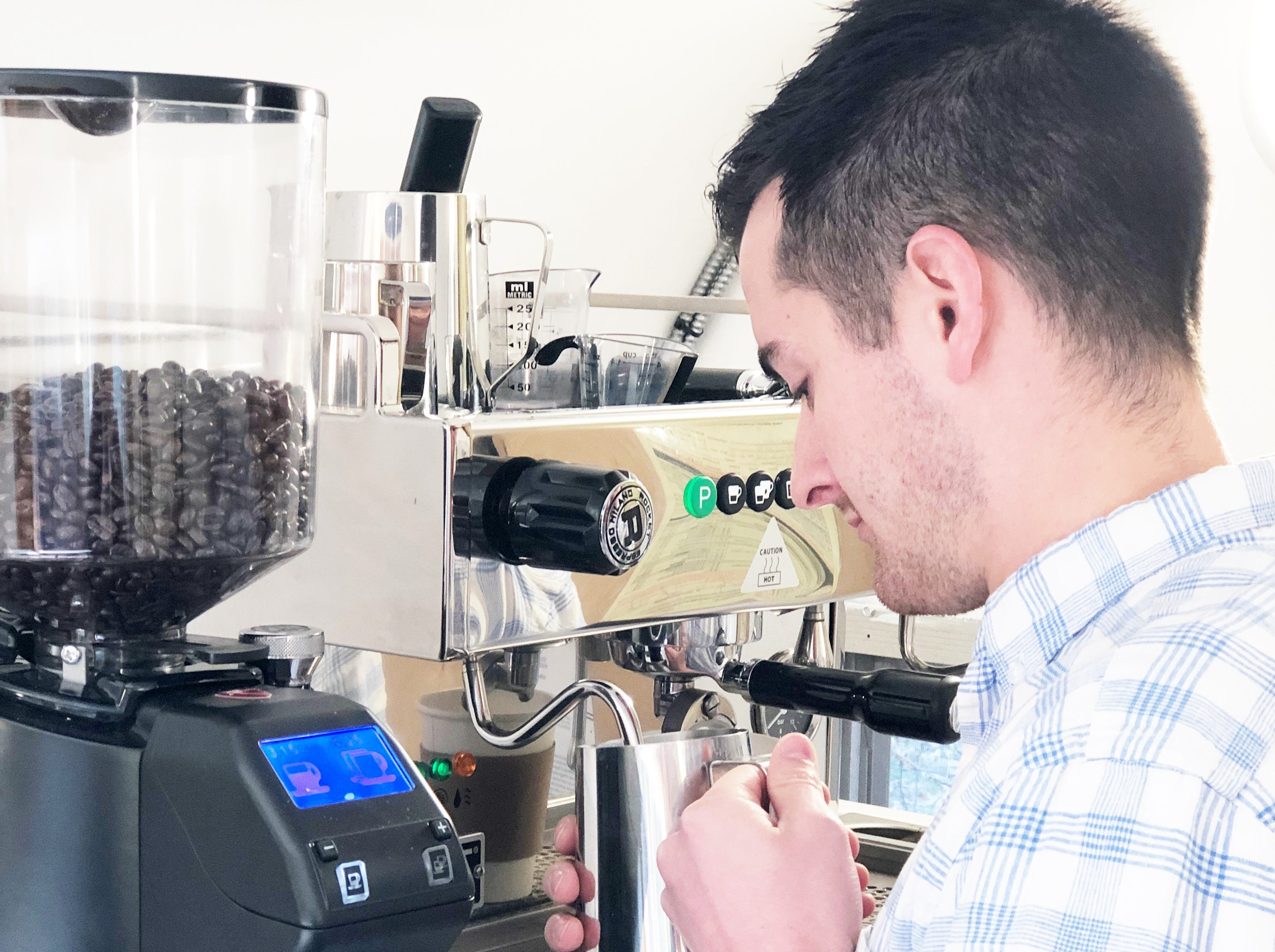 """""""Our espresso machine produces a quality coffee,"""" said Collin Napier. """"It's an Italian made Rocket Boxer Espresso machine. It has a really big boiler, and two steam wands to froth milk in two pitchers at the same time and an eight-liter boiler to crank out drinks."""""""