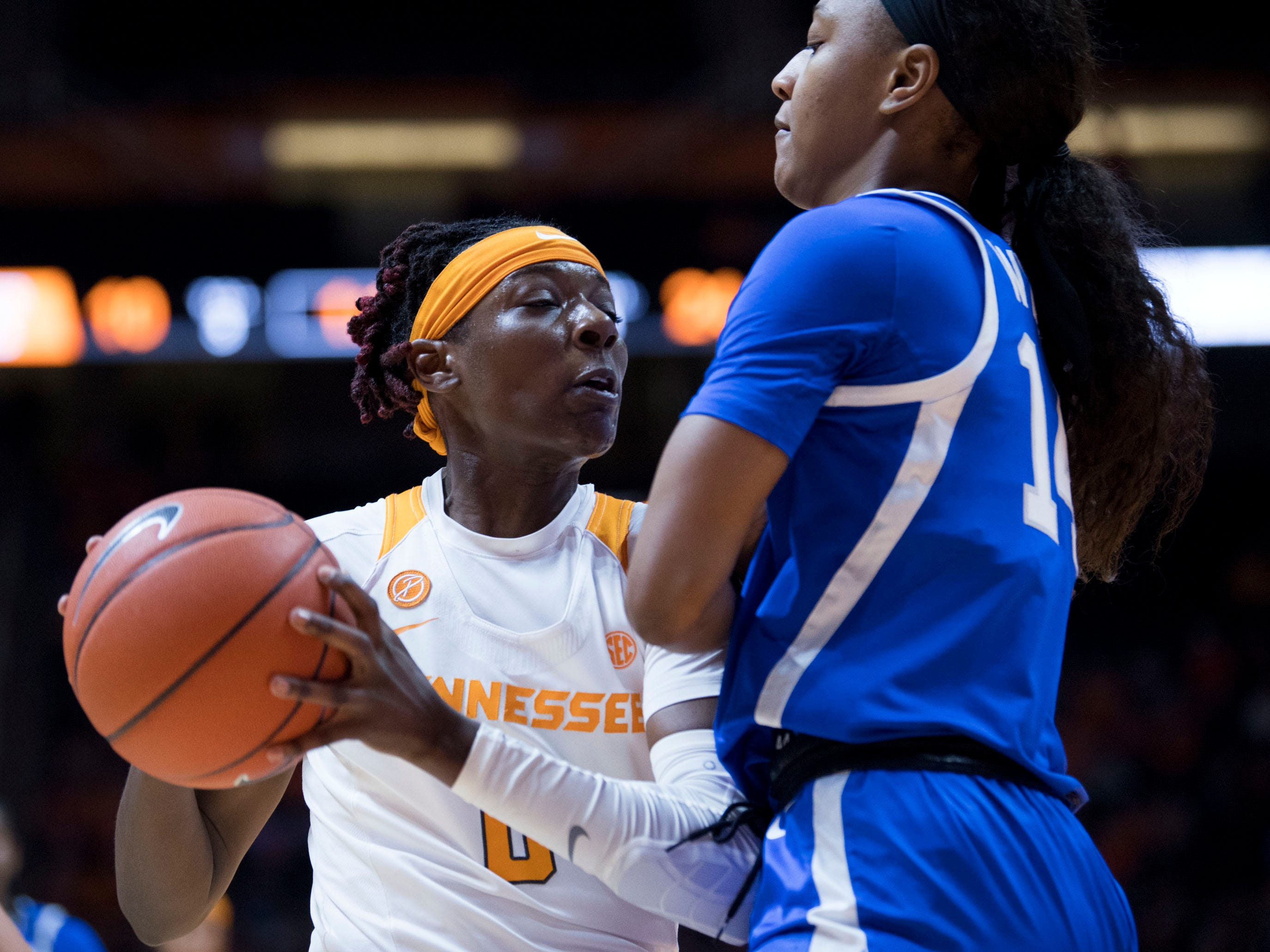 Tennessee's Rennia Davis (0) comes up against Kentucky's Tatyana Wyatt (14) on Thursday, January 10, 2019.