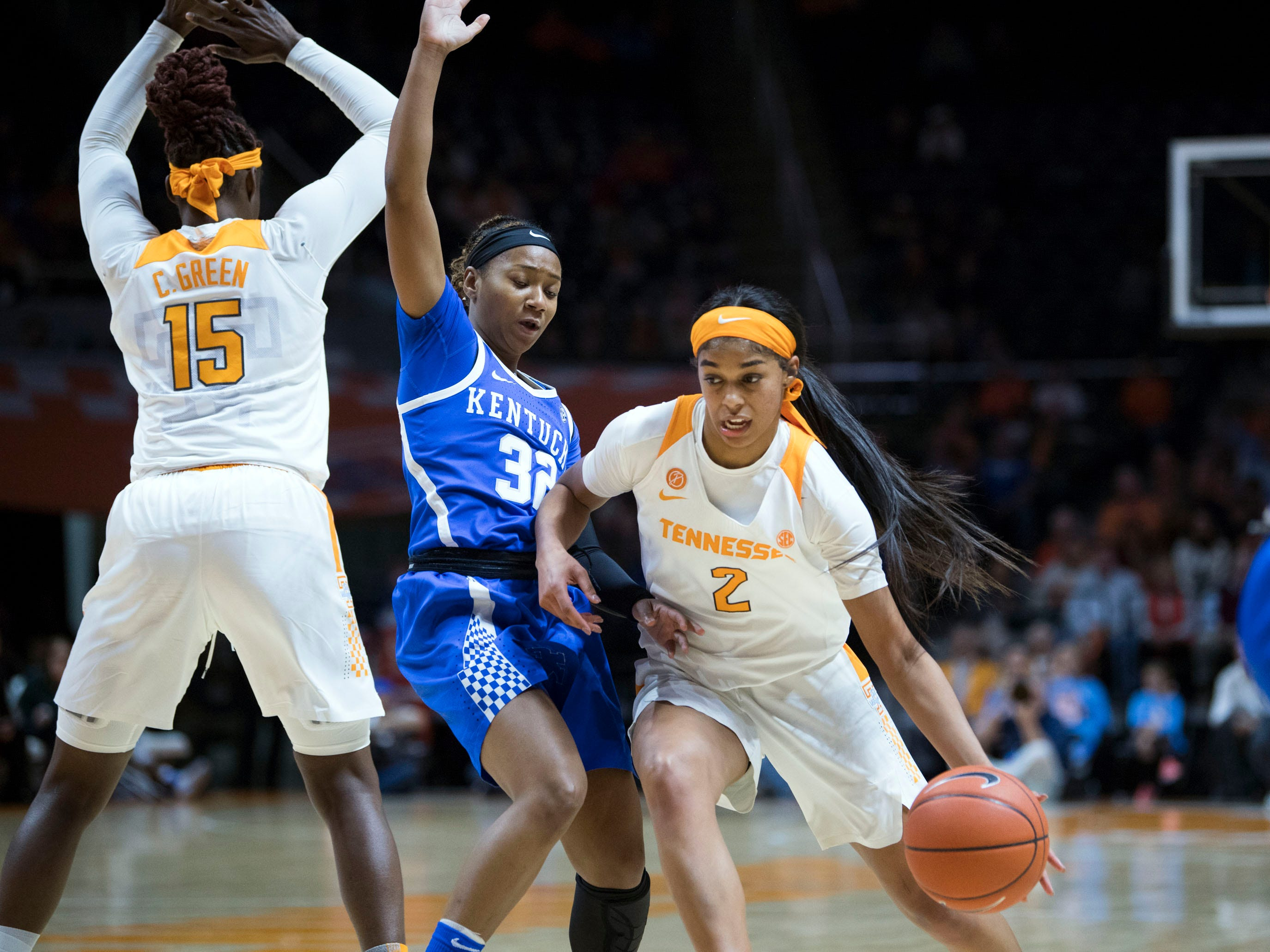 Tennessee's Evina Westbrook (2) tries to get to the basket while guarded by Kentucky's Jaida Roper (32) on Thursday, January 10, 2019.