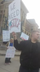 Jake Gaddis, right, leads a rally outside the Montgomery County Courthouse on Jan. 7 in Crawfordsville, calling to justice after the death of Glenn Rightsell, a Linden man killed after he was shot by Indiana State Police Trooper Daniel Organ along U.S. 231 in northern Montgomery County on Dec. 28.