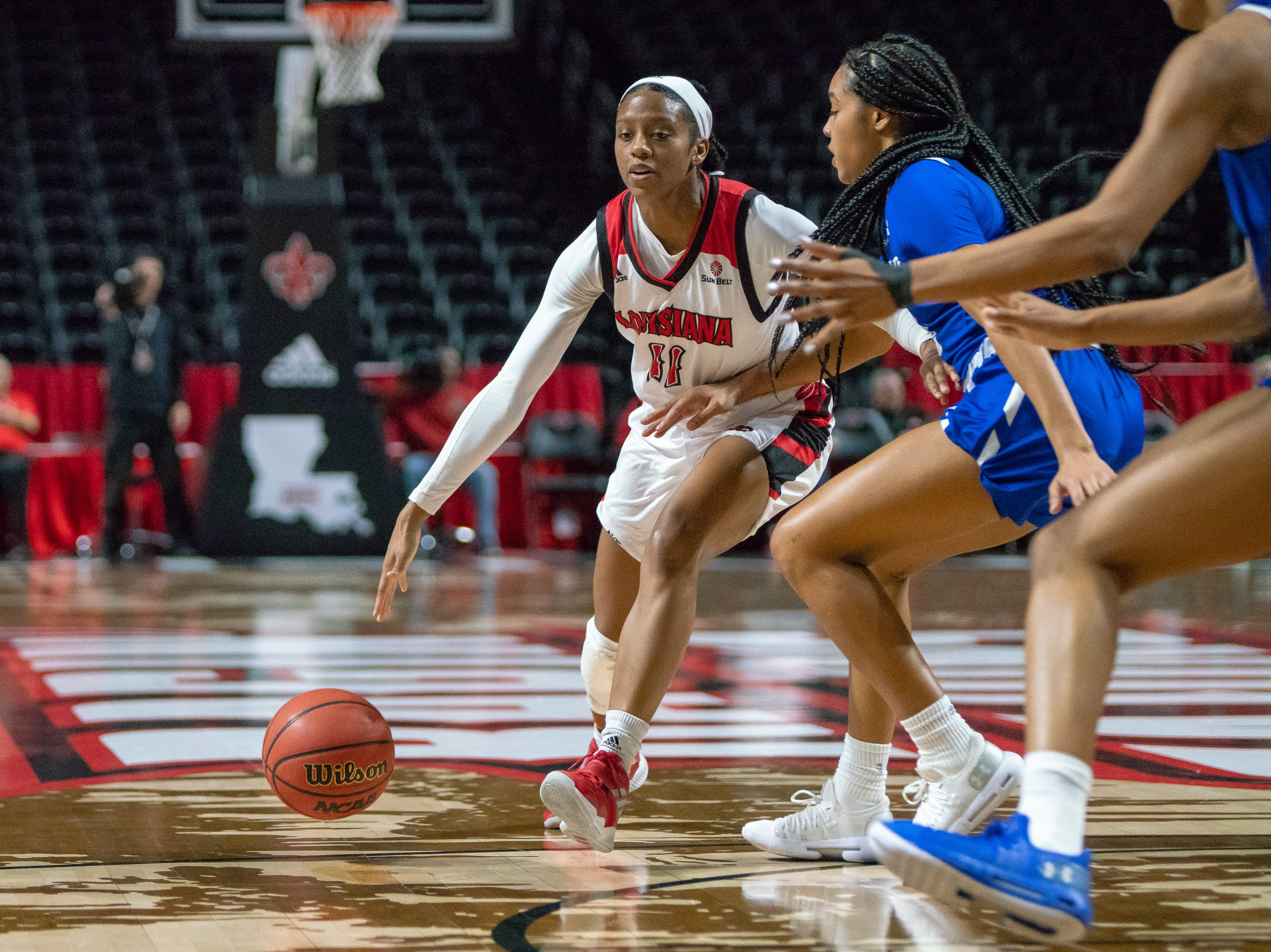 UL's Skyler Goodwin drives the ball to the goal as the Ragin' Cajuns play against the Georgia State Panthers at the Cajundome on January 10, 2019.