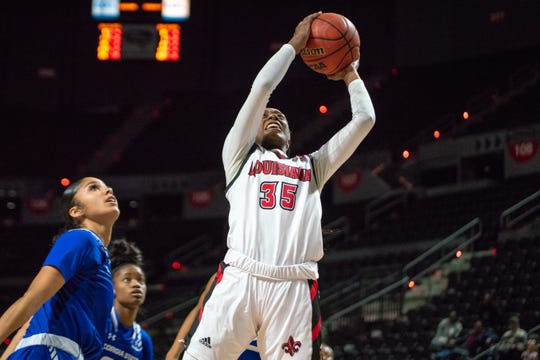 UL's Ty'Reona Doucet led the Cajuns with 23 points and seven rebounds in the 57-54 win over Georgia State on Thursday at the Cajundome.