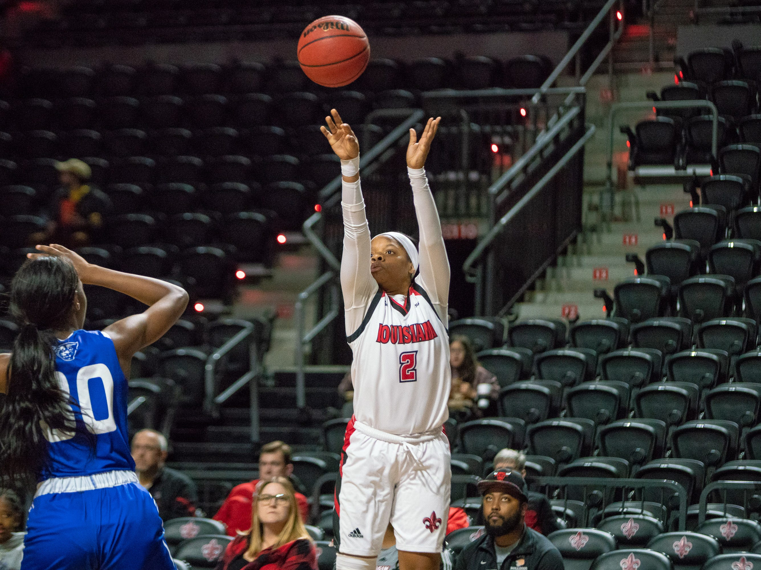 UL's Brandi Williams shoots to score as the Ragin' Cajuns play against the Georgia State Panthers at the Cajundome on January 10, 2019.