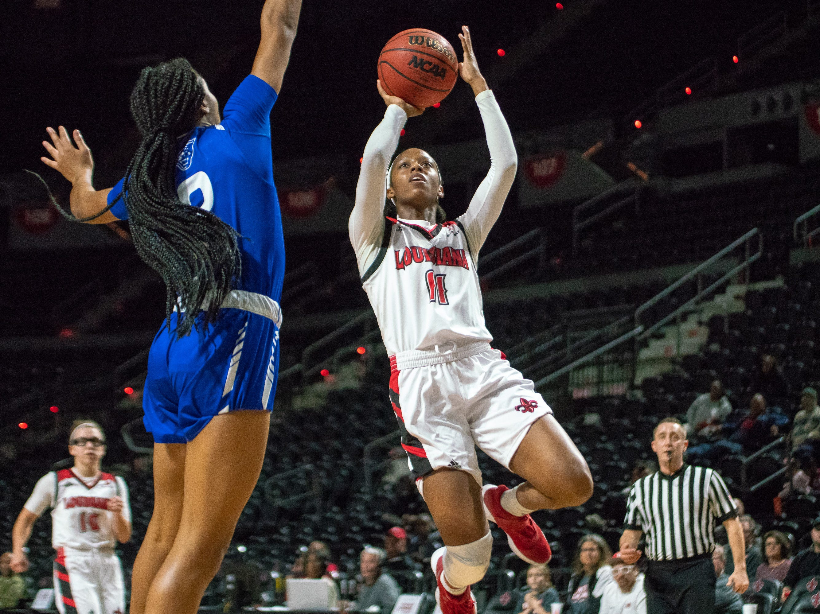 UL's Skyler Goodwin goes up to the goal to score as the Ragin' Cajuns play against the Georgia State Panthers at the Cajundome on January 10, 2019.