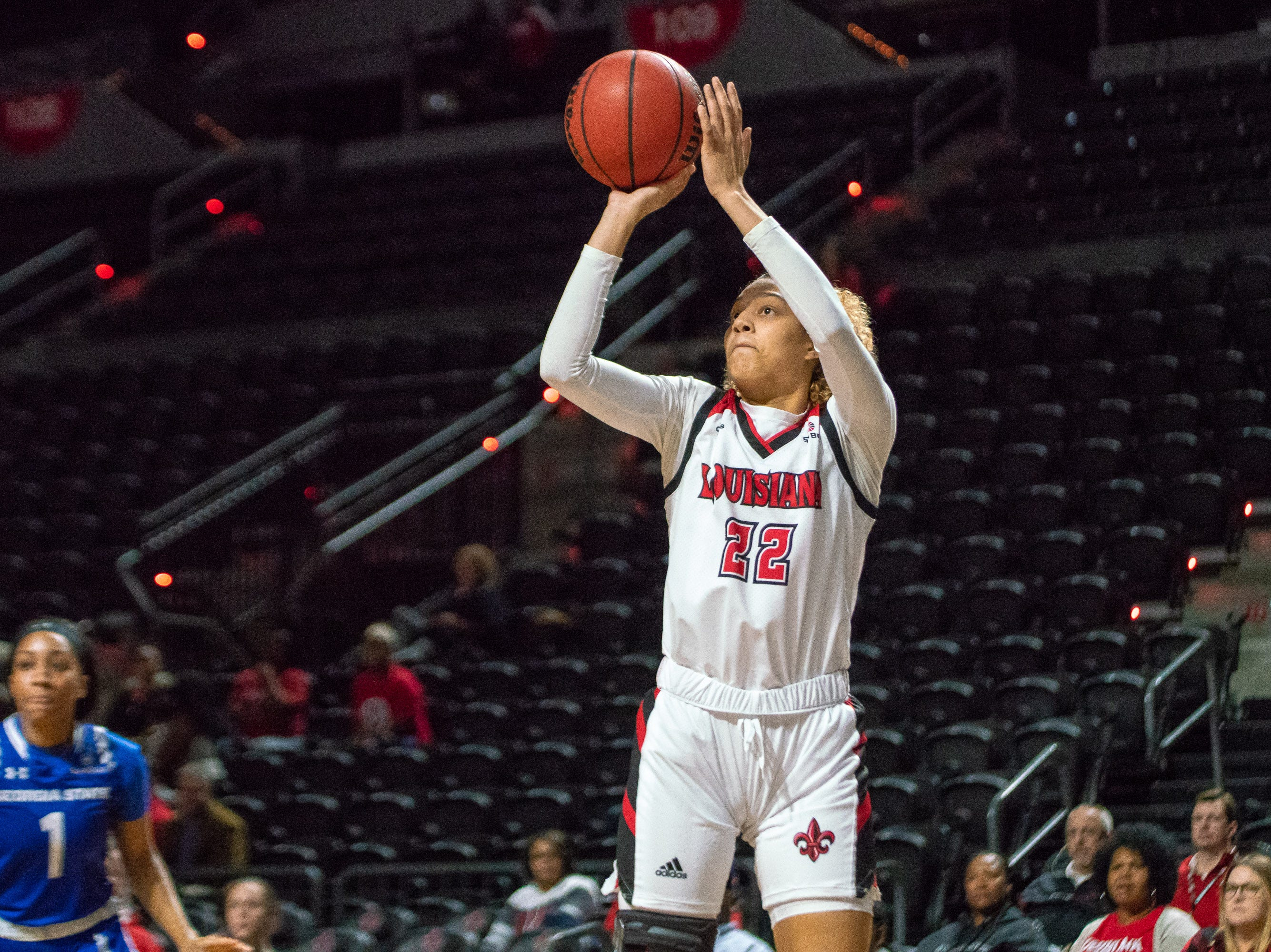 UL's Kendall Bess shoots for two-points as the Ragin' Cajuns play against the Georgia State Panthers at the Cajundome on January 10, 2019.