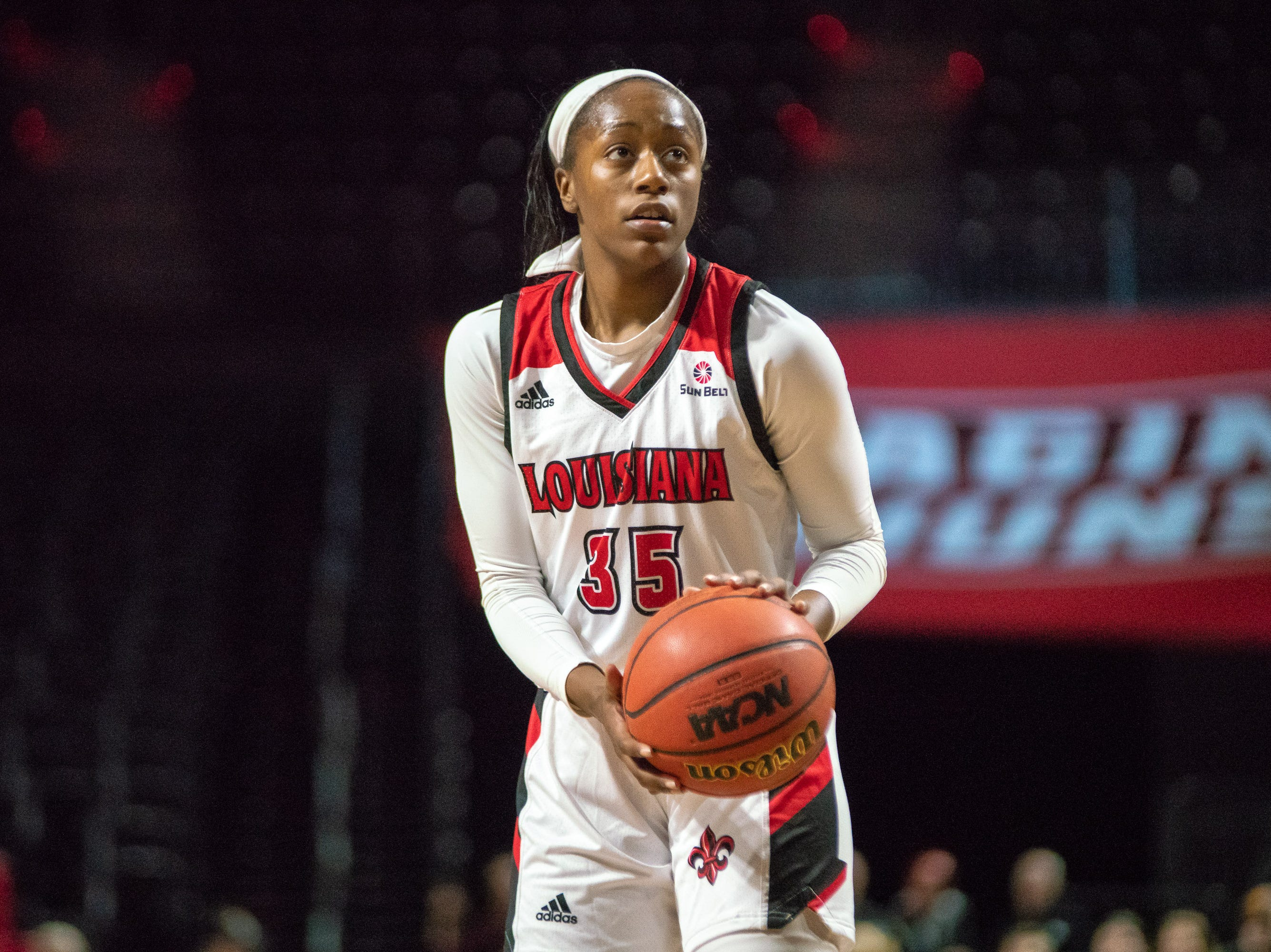 UL's Ty'Reona Doucet shoots from the foul line as the Ragin' Cajuns play against the Georgia State Panthers at the Cajundome on January 10, 2019.