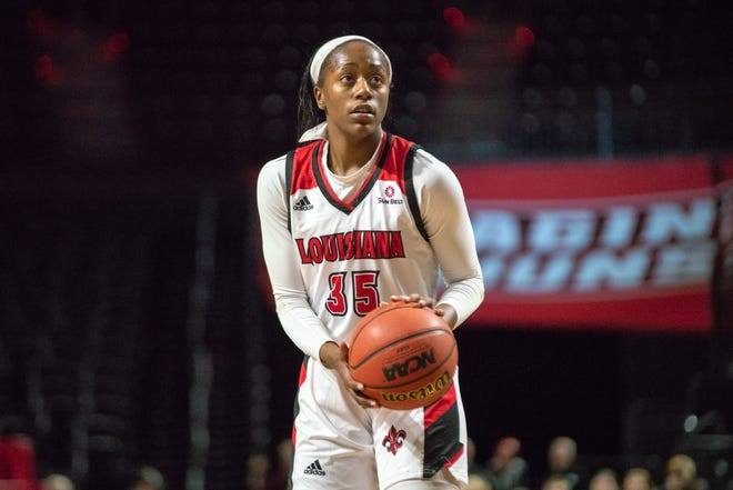 UL's Ty'Reona Doucet, shown here during a recent game against Georgia State, scored 23 points in the Cajuns' loss to South Alabama on Thursday.