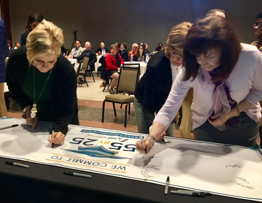 Acadiana business, education and community leaders commit to One Acadiana's 55 by 25 goal -- increasing the percentage of working age adults in the region with post-secondary education to 55 percent by 2025 -- at a summit Friday, Jan. 11, 2019.