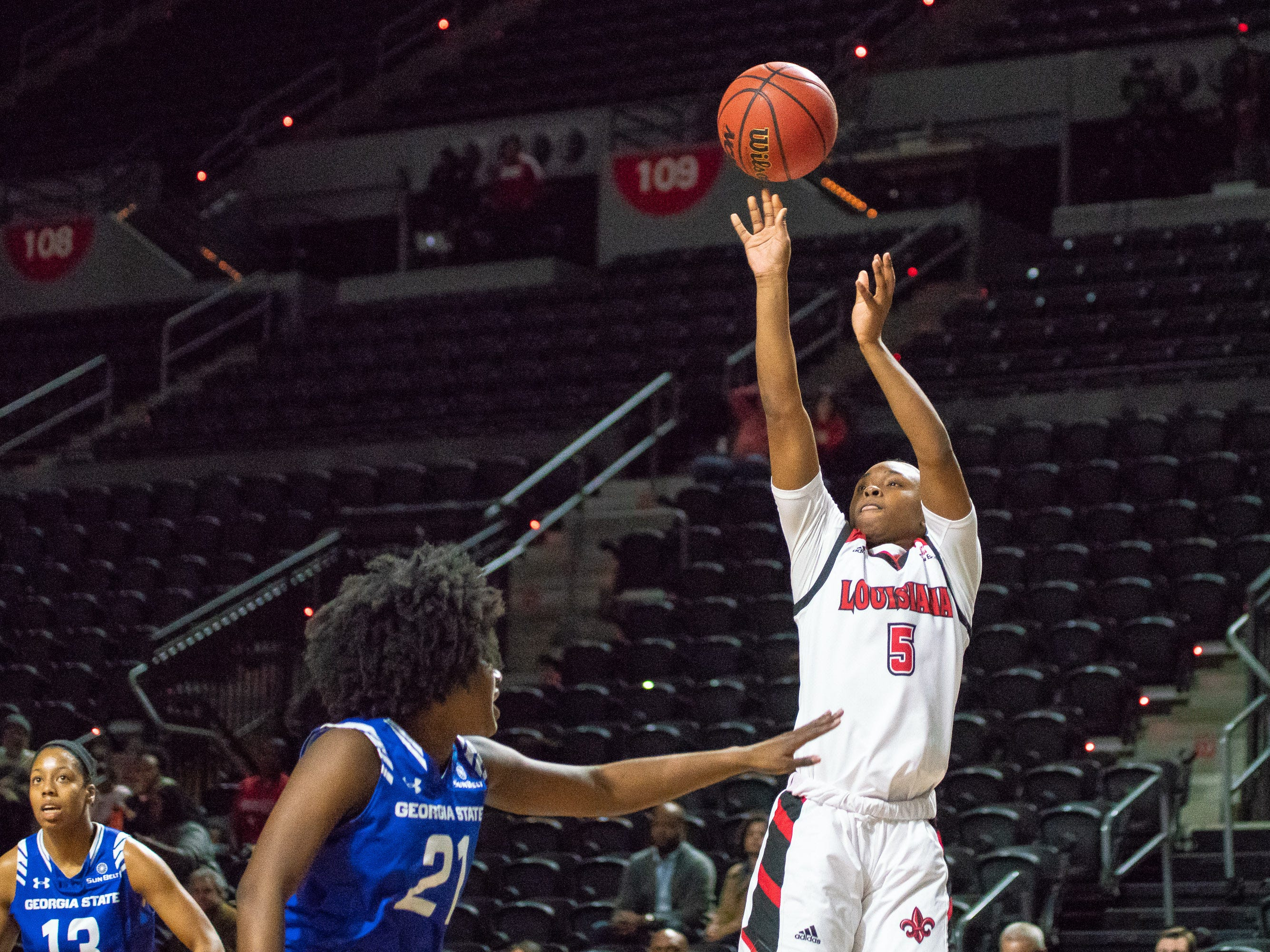 UL's Jomyra Mathis shoots the ball during the play as the Ragin' Cajuns play against the Georgia State Panthers at the Cajundome on January 10, 2019.