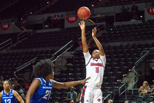 UL's Jomyra Mathis knocks down a jumper from the wing during the Cajuns' 57-54 Sun Belt win over Georgia State on Thursday at the Cajundome.
