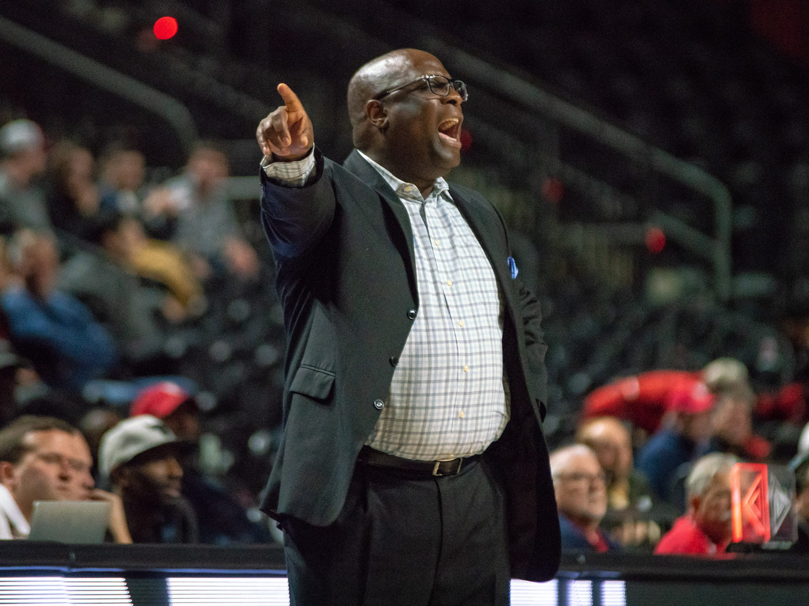 Georgia State's head coach Gene Hill coaches his players from the sidelines as the Ragin' Cajuns play against the Georgia State Panthers at the Cajundome on January 10, 2019.