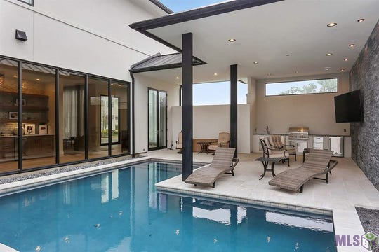 The sparkling pool is a wonderful oasis.