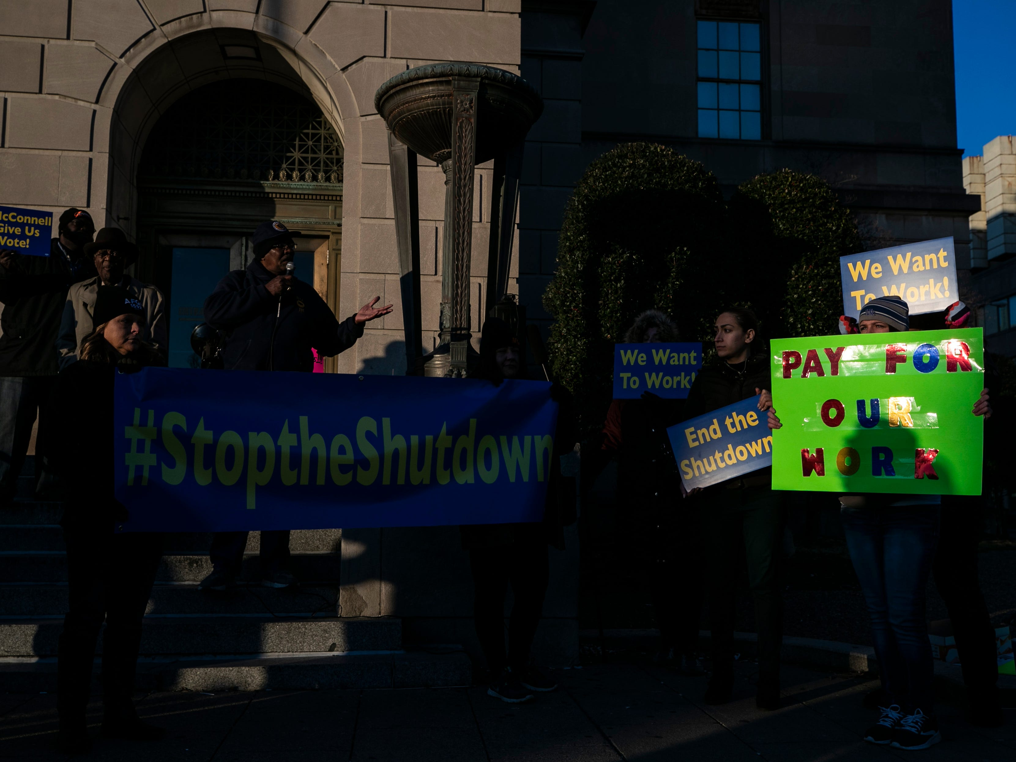 Frustrated federal employees of the government shutdown chanted 'End it now' and 'We want to work' outside Senate Majority leader Mitch McConnell's office Thursday afternoon. It was led by the American Federation of Government Employees local chapter. January 10, 2019