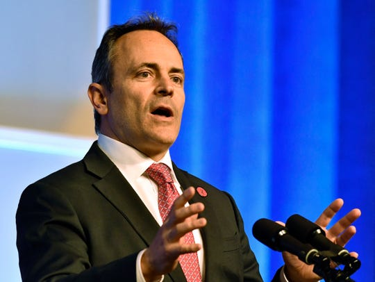 Kentucky Gov. Matt Bevin speaks about the upcoming legislative session at the Kentucky Chamber Day Dinner in Lexington, Ky., Thursday, Jan. 10, 2019. (AP Photo/Timothy D. Easley)