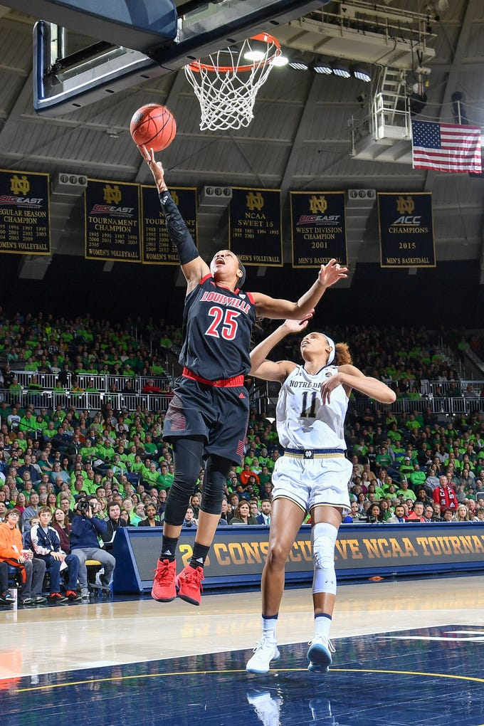 Jan 10, 2019; South Bend, IN, USA; Louisville Cardinals guard Asia Durr (25) goes up for a shot as Notre Dame Fighting Irish forward Brianna Turner (11) defends in the first half at the Purcell Pavilion.