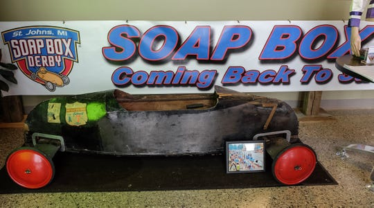 A Soap Box Derby car from 1947 is on display at the AgroLiquid building just outside St. Johns Thursday, Jan. 10, 2019. St. Johns is bringing back the derby after 43 years.