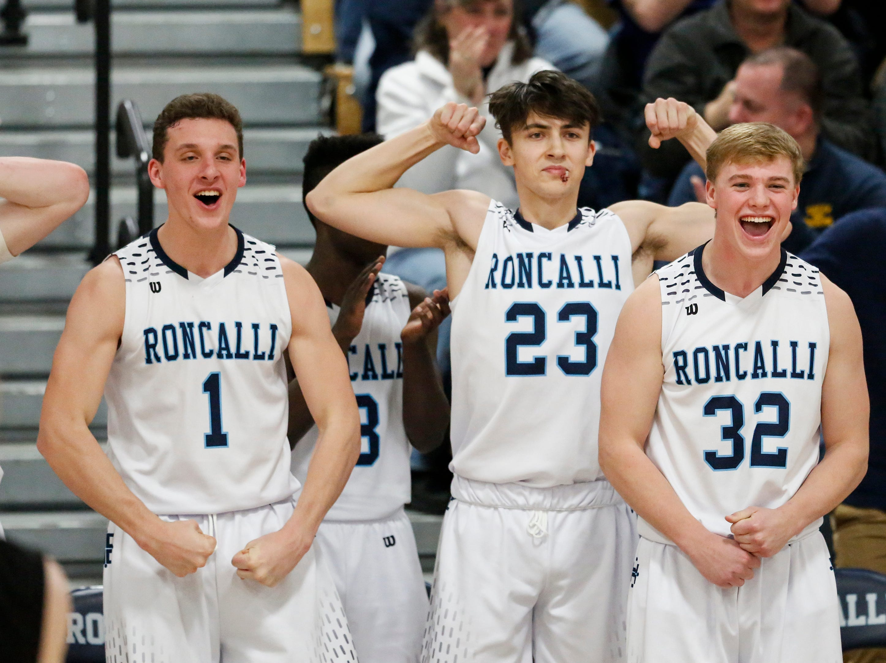 Roncalli's Daniel Burgarino, Jack Beckner and Connor Jacoby react to a shot against Sheboygan Falls in the final minutes of the game at Roncalli High School Thursday, January 10, 2019, in Manitowoc, Wis. Joshua Clark/USA TODAY NETWORK-Wisconsin