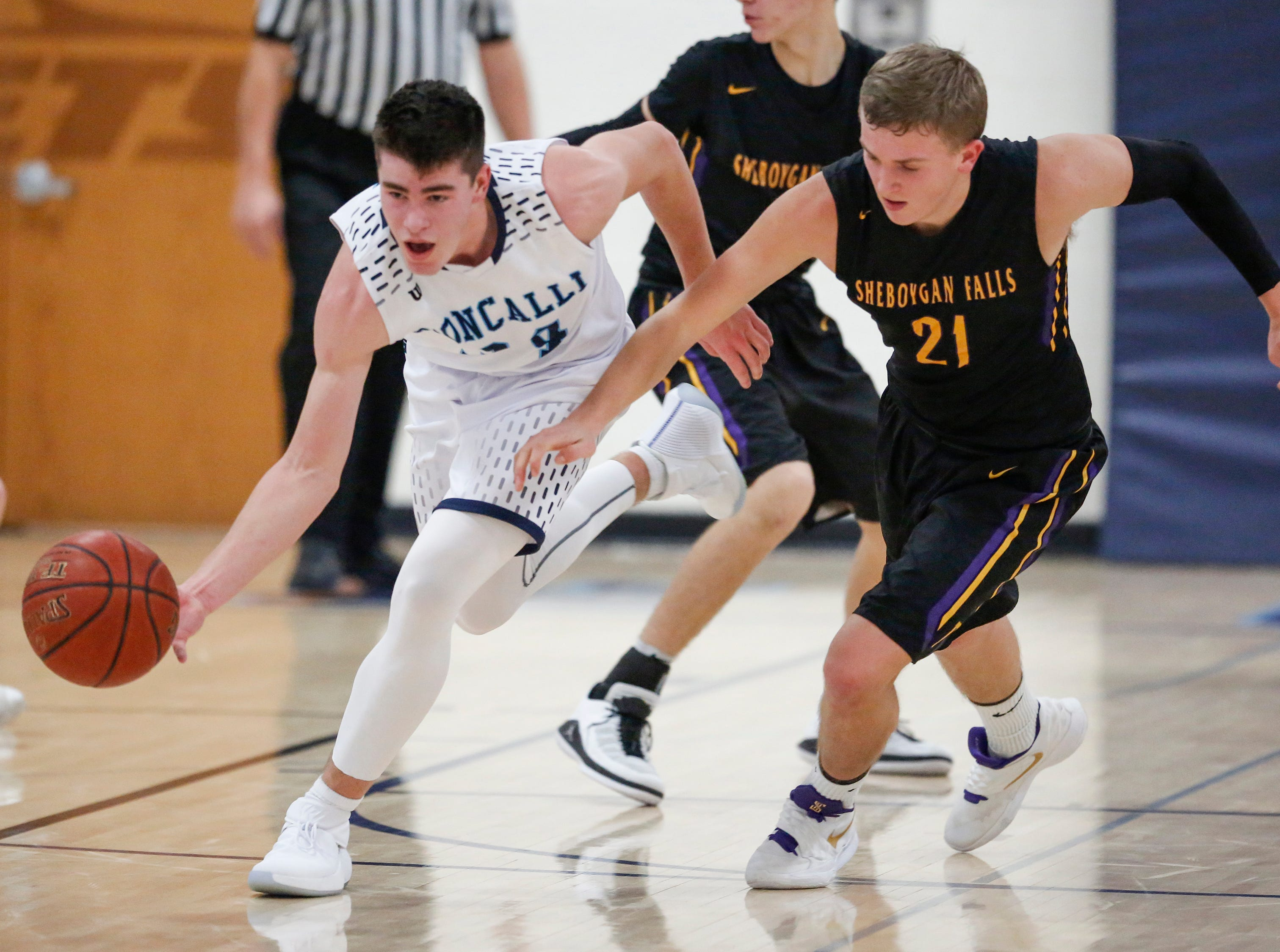 Roncalli's Ian Behringer (34) steals the ball from Sheboygan Falls's Connor Spielvogel during an EWC matchup at Roncalli High School Thursday, January 10, 2019, in Manitowoc, Wis. Joshua Clark/USA TODAY NETWORK-Wisconsin