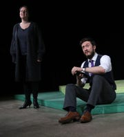 """Maddie Beer and Zack Pytel rehearse a scene at the Theatre 166 for the play """"Sunday in the Park with George."""""""