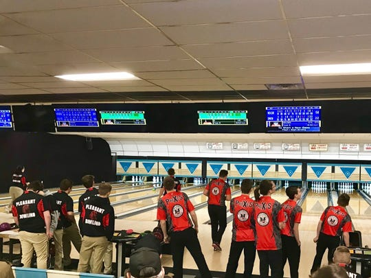 Pleasant and Marion Harding compete in a high school bowling match held at Cooper's Bowl in Marion.