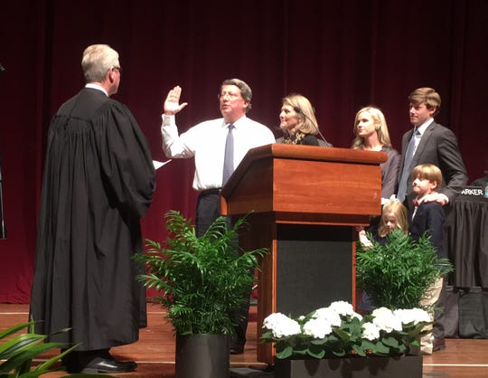 Mark Norris takes the oath of office as a federal judge from S. Thomas Anderson, chief judge for the western district of Tennessee. The public swearing-in on January 11, 2019 at The Cannon Center followed a private ceremony in November.