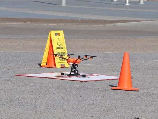 A drone sits ready for flight as part of a flight mission under the Memphis International Airport.