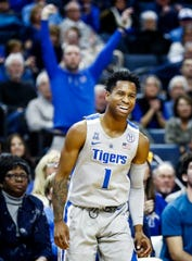 Memphis guard Tyler Harris during action against ECU at the FedExForum, Thursday, January 10, 2019.