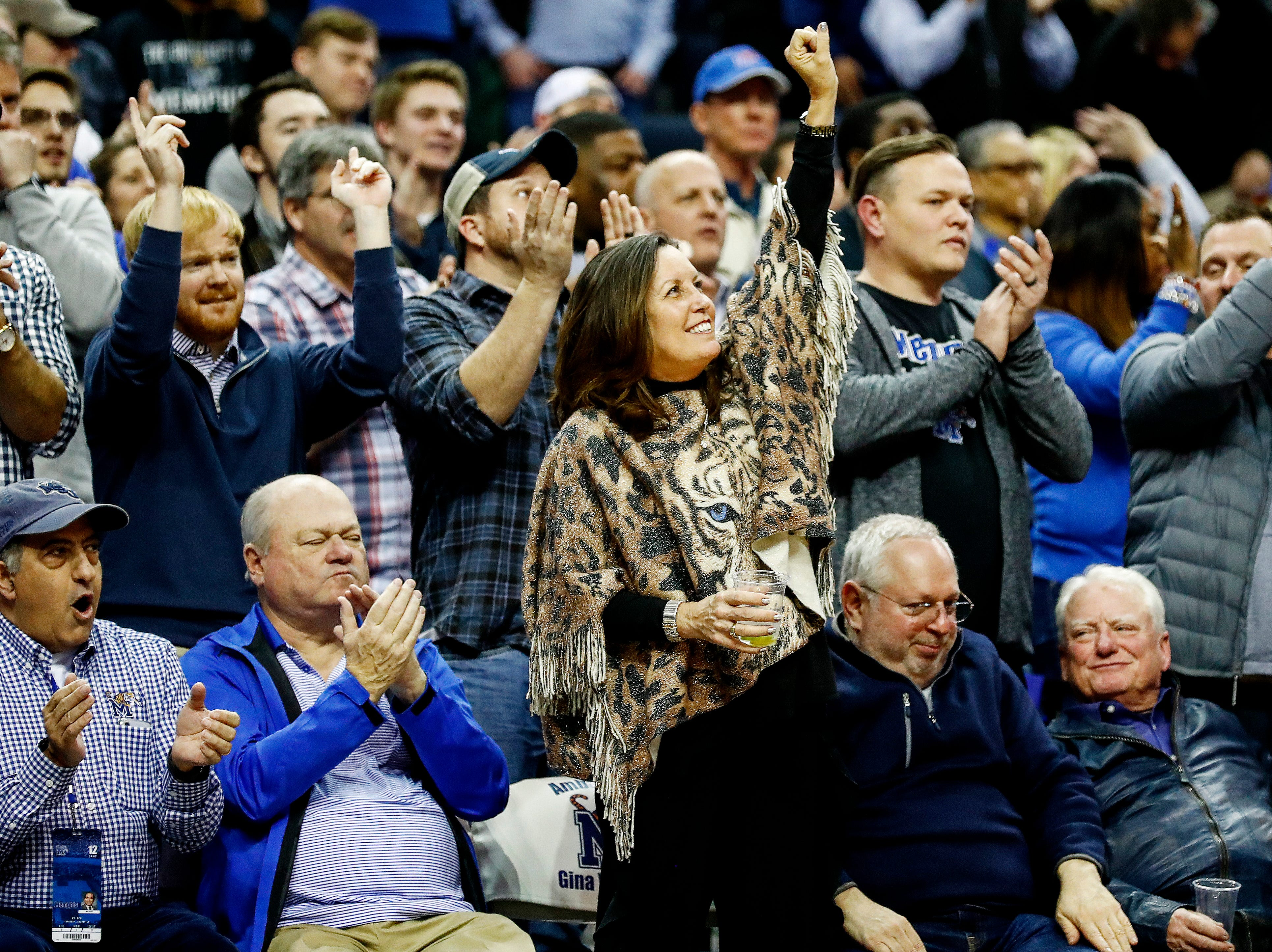 Memphis fans celebrates during action against ECU at the FedExForum, Thursday, January 10, 2019.