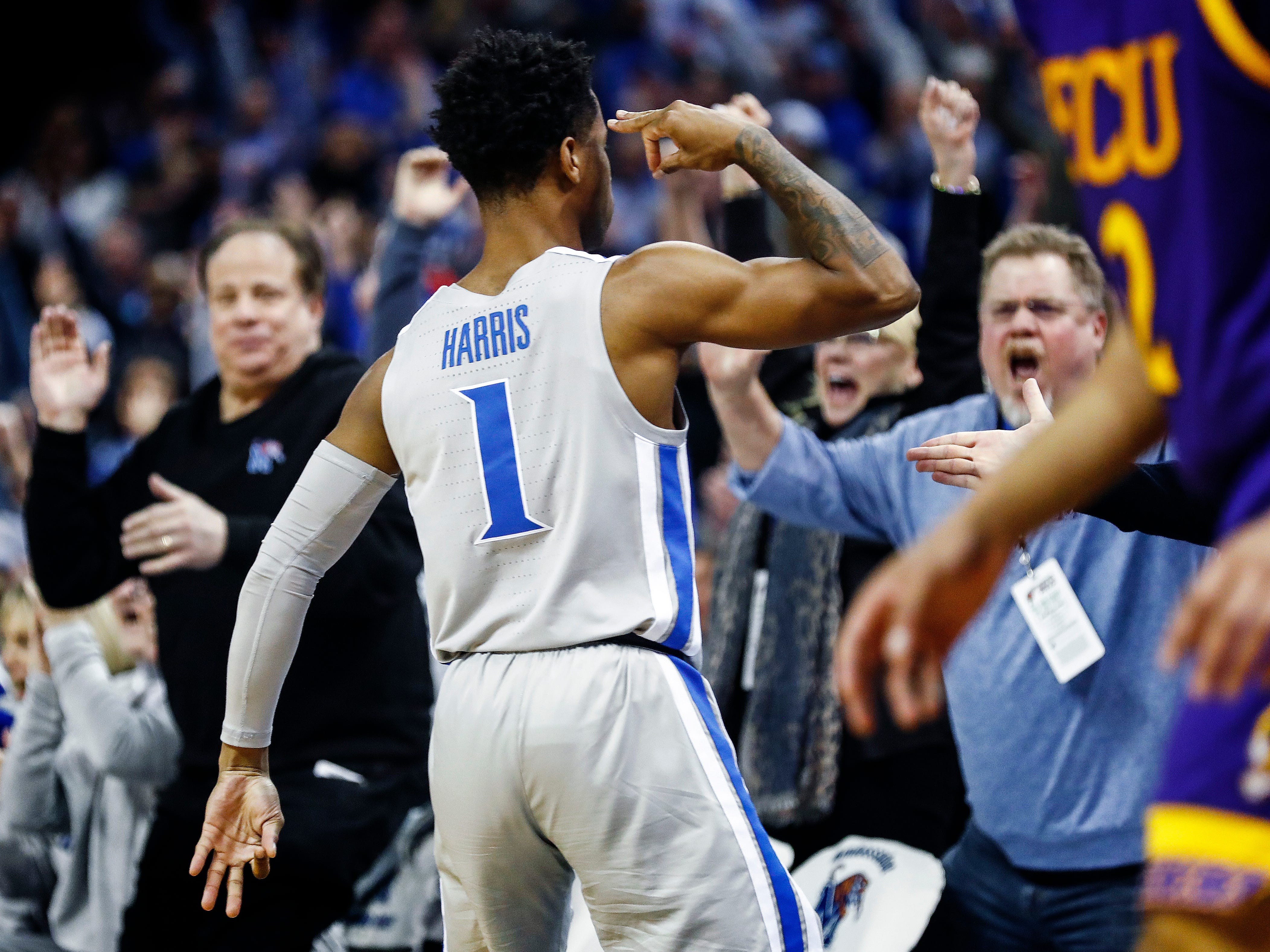 Memphis guard Tyler Harris celebrates a made 3-pointer against ECU during action at the FedExForum, Thursday, January 10, 2019.