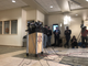 Members of the media wait for the start of the news conference about Jayme Closs being found.