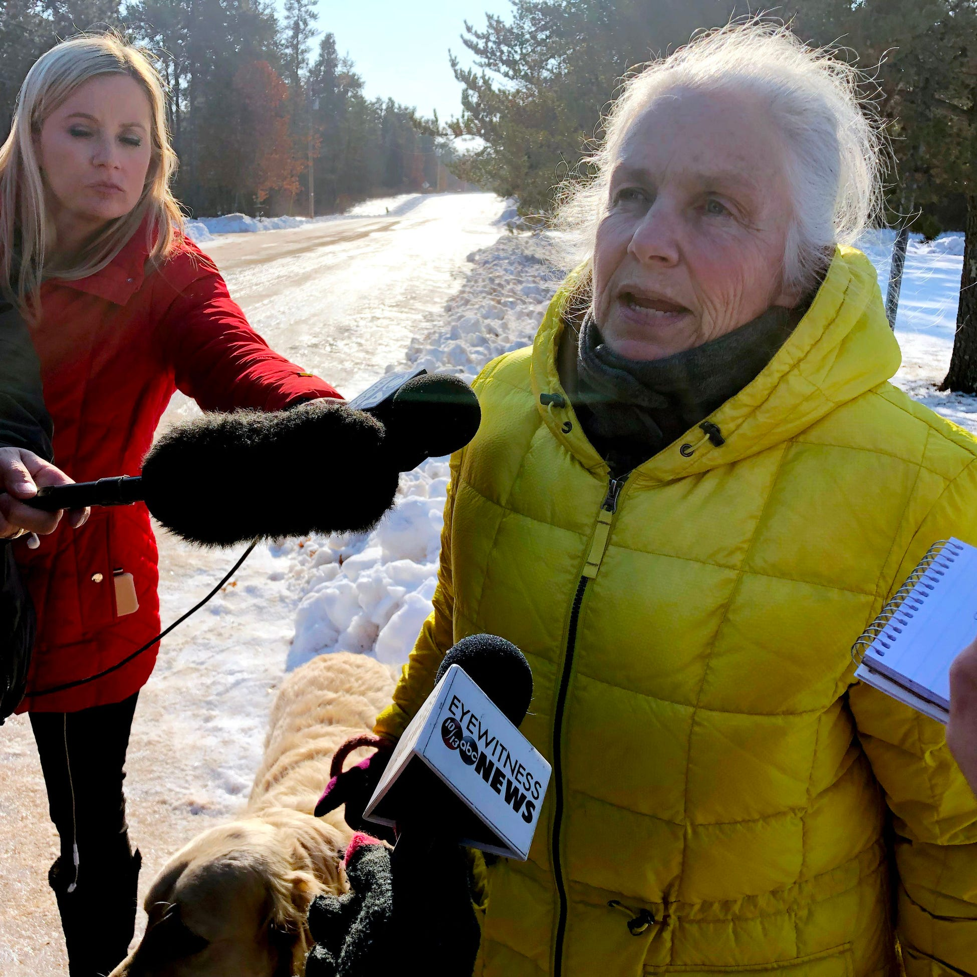 Jeanne Nutter speaks to the media on Friday in Gordon. Nutter was walking her dog near the cabin she owns with her husband Forrest on Thursday when she encountered Jayme Closs coming out of nearby woods.