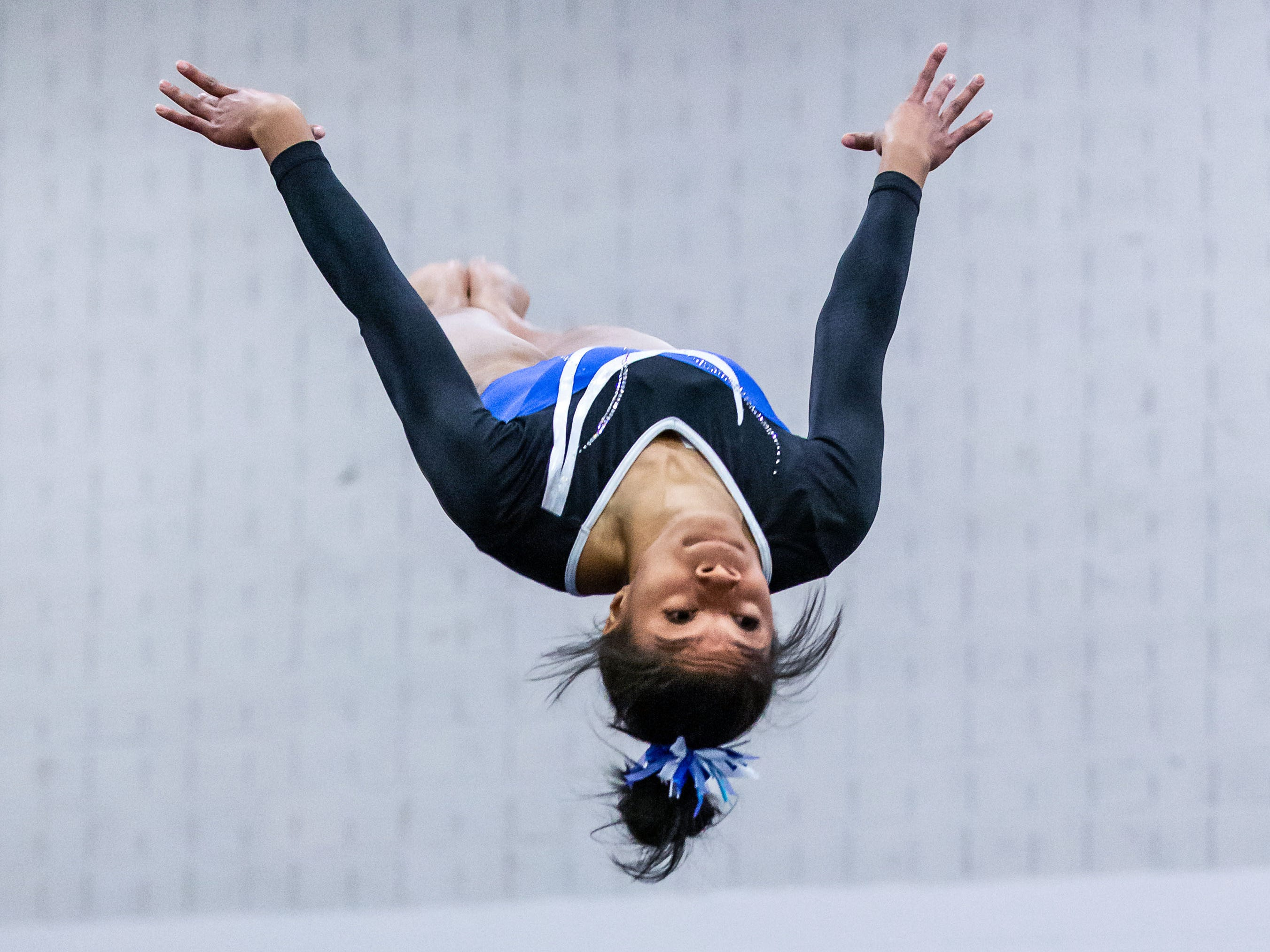 Nicolet gymnast Kynnedi Malone competes on the floor during the meet at home against Whitefish Bay on Thursday, Jan. 3, 2019.