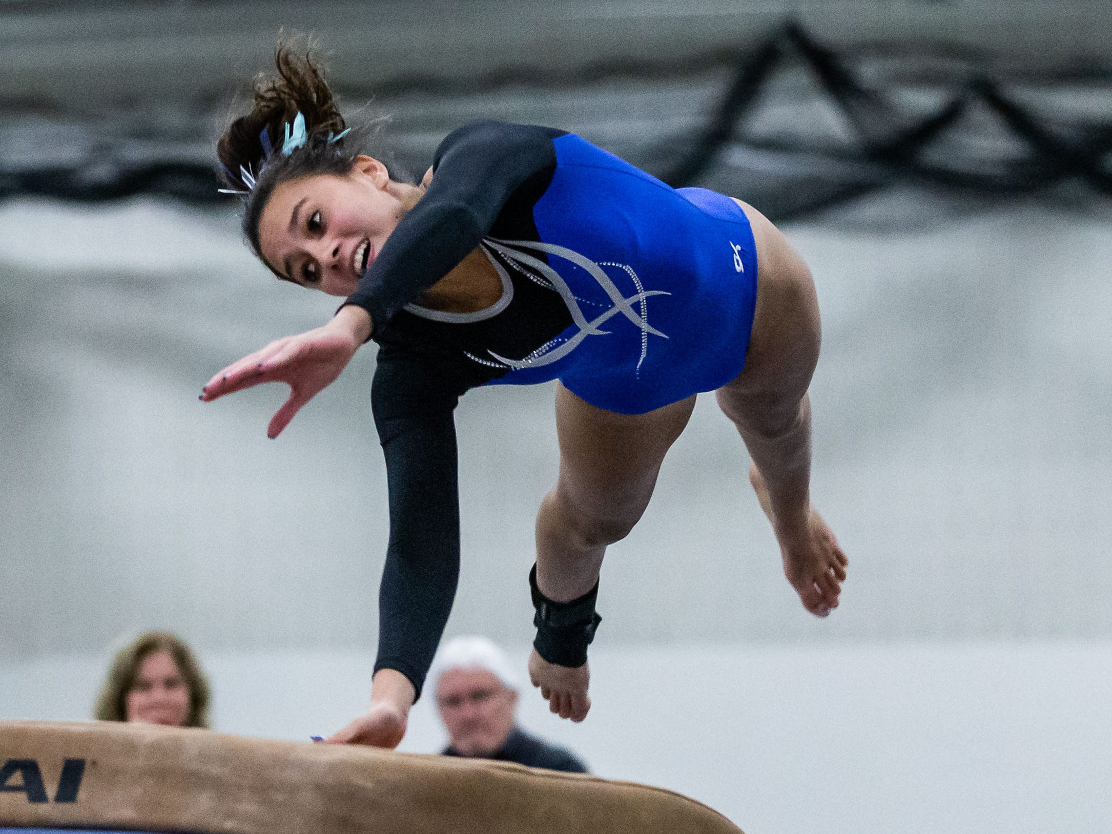 Nicolet gymnast Rachael Riedijk competes on the vault during the meet at home against Whitefish Bay on Thursday, Jan. 3, 2019.