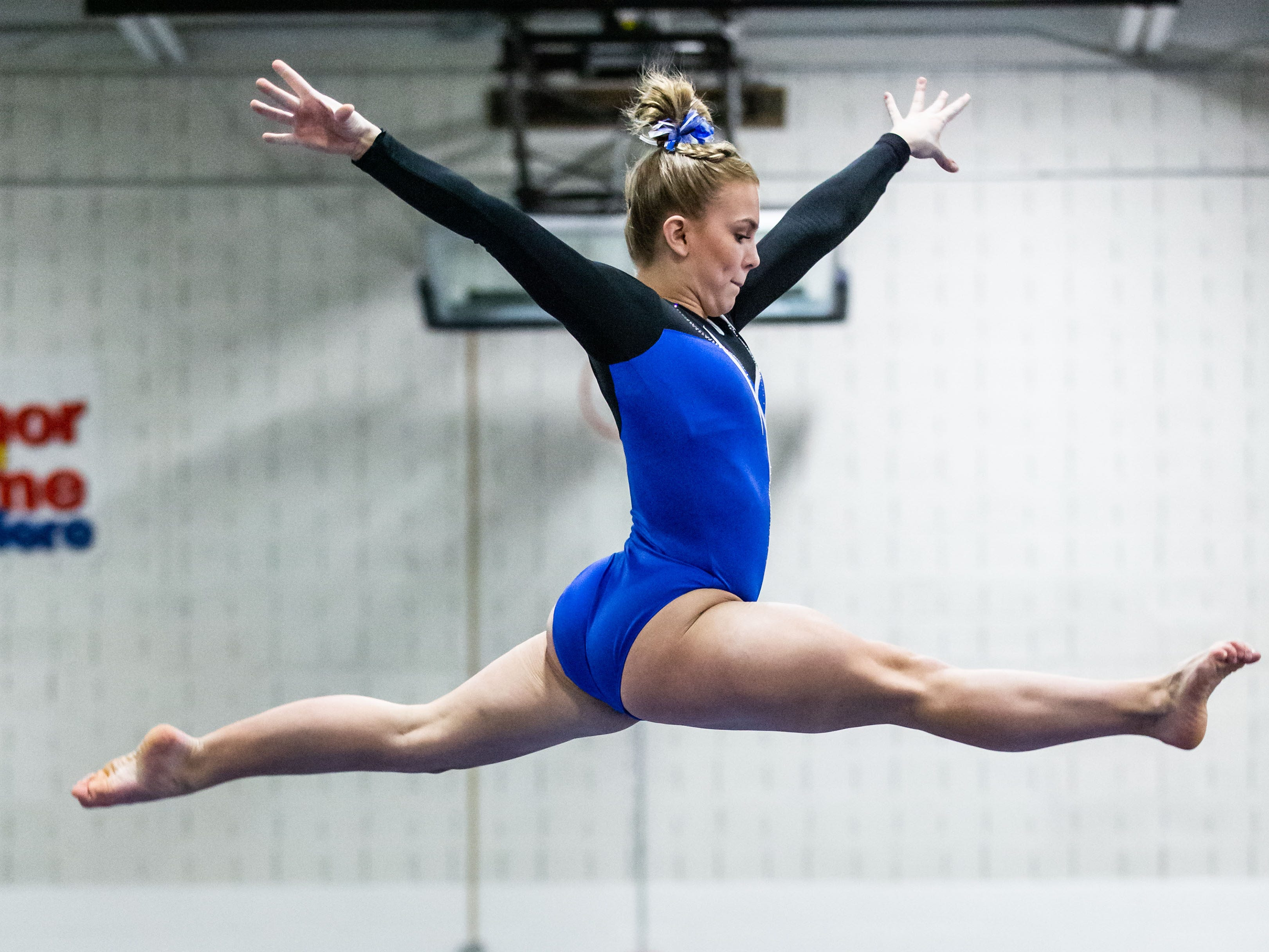 Nicolet gymnast Abbe Hansen competes on the beam during the meet at home against Whitefish Bay on Thursday, Jan. 3, 2019. Hansen placed third in the event with a score of 8.60.