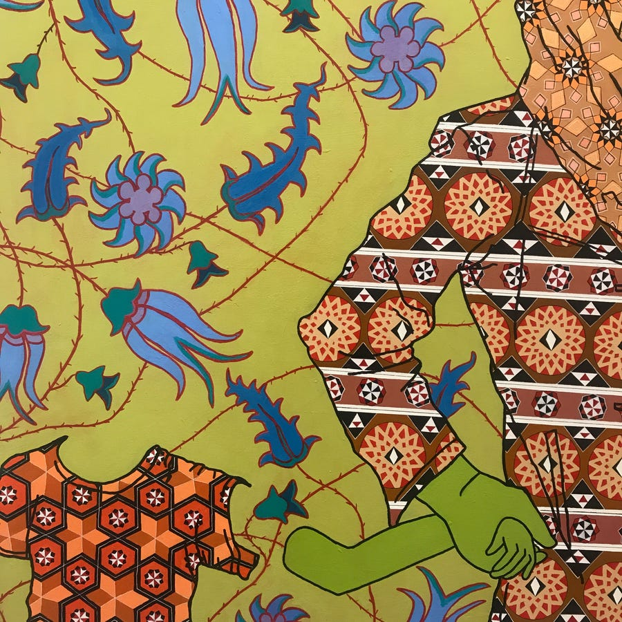 A detail from a painting by David Najib Kasir.