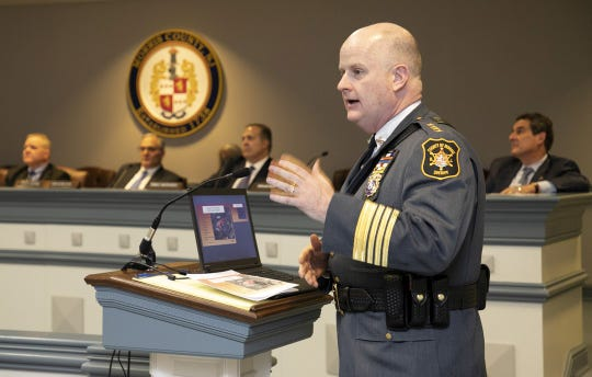 Morris County Sheriff James Gannon makes a presentation to the Morris County freeholders on Dec. 12 regarding a proposed $106 million expansion of the county courthouse and administration complex in Morristown.