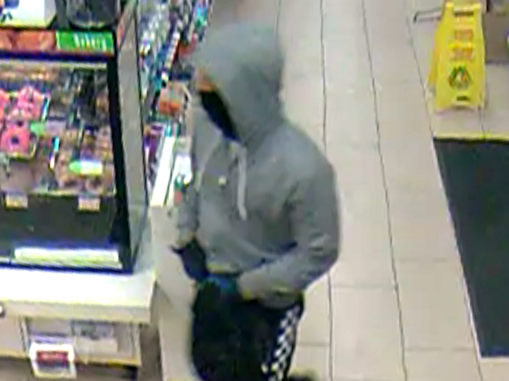 Surveillance photo of a suspect believed to have been involved in an armed robbery of a 7-Eleven store in Randolph. Jan. 10, 2019.