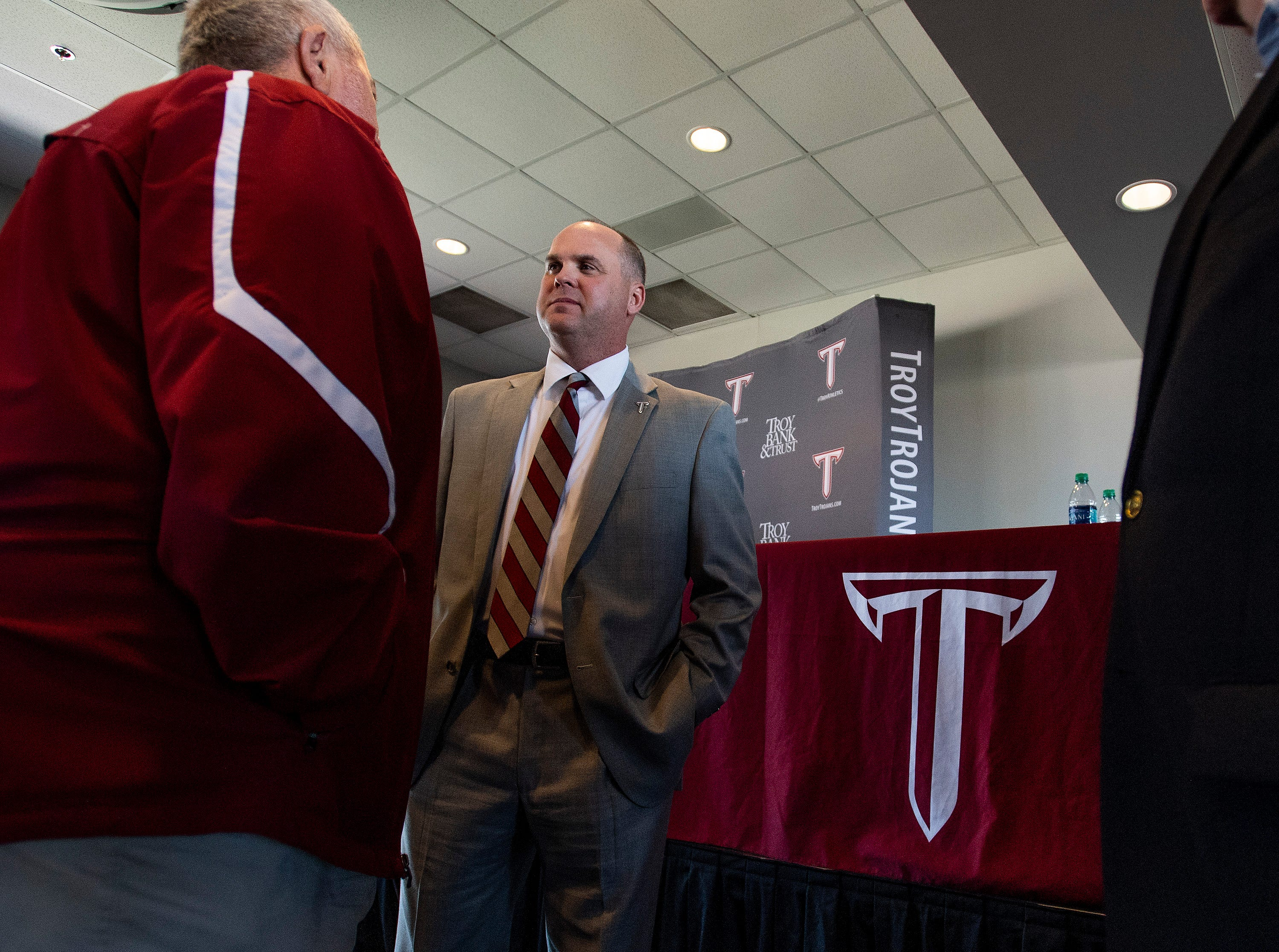 New Troy University Head Football Coach Chip Lindsey greets supporters after he is introduced on the Troy campus in Troy, Ala., on Friday January 11, 2019.