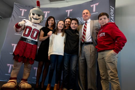 New Troy University Head Football Coach Chip Lindsey and his family are photographed as he is introduced on the Troy campus in Troy, Ala., on Friday January 11, 2019.