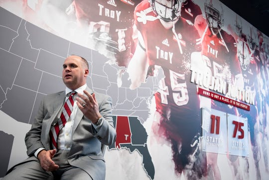 New Troy University Head Football Coach Chip Lindsey talks with the media on the Troy campus in Troy, Ala., on Friday January 11, 2019.