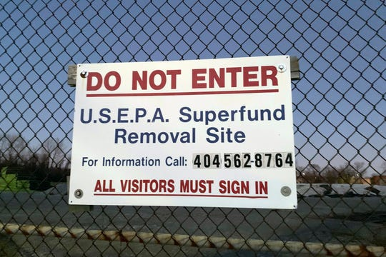 "A sign identifies the Superfund removal site on the property of a former high school in Birmingham, Ala., Wednesday, Jan. 9, 2019. Last User: APGBL\amthomas The partial government shutdown has forced suspension of federal work at the nation's Superfund sites unless it is determined there is an ""imminent threat"" to life or property.(AP Photo/Kimberly Chandler)"