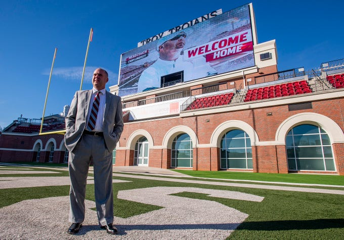 New Troy University Head Football Coach Chip Lindsey walks the football field on the Troy campus in Troy, Ala., on Friday January 11, 2019.