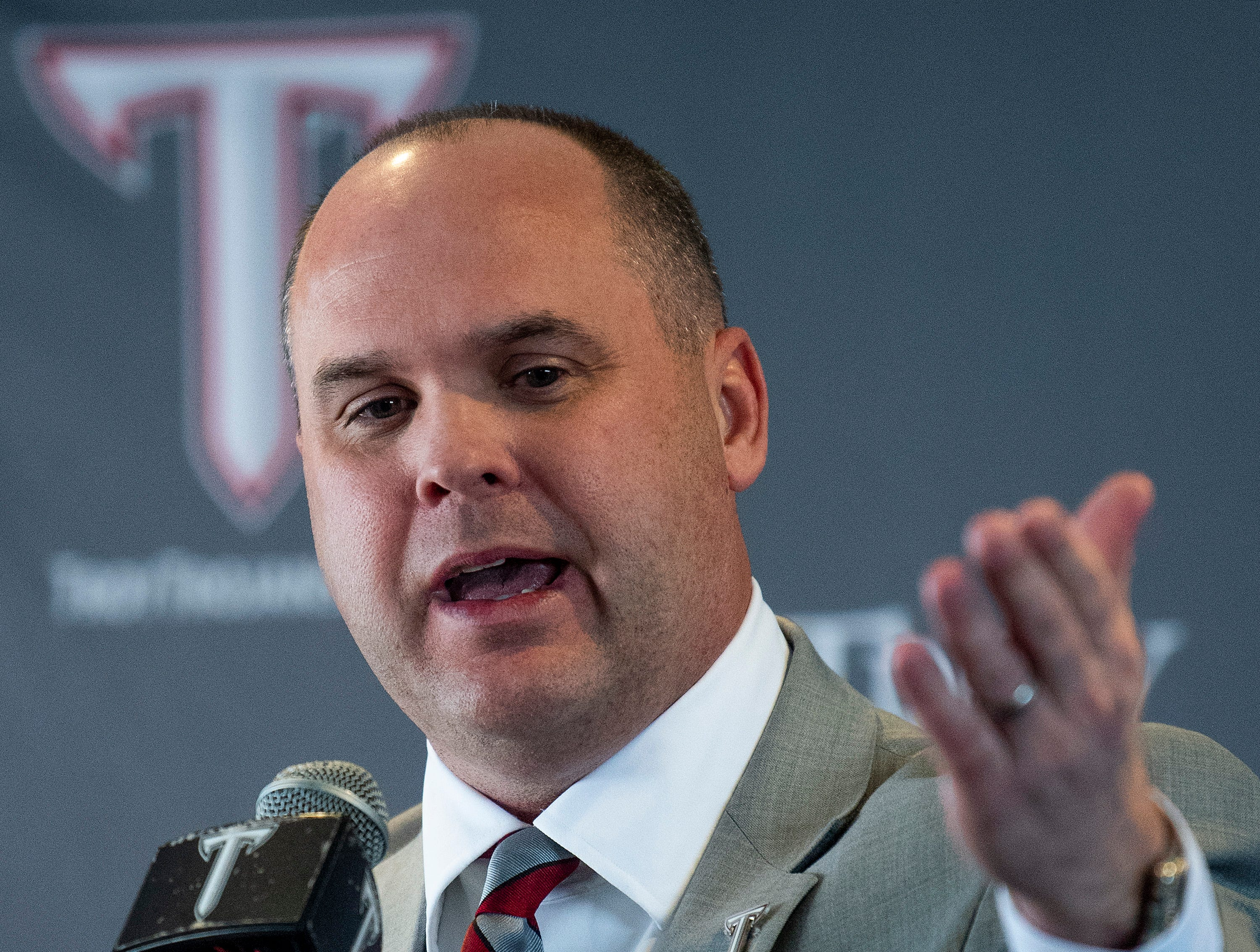 New Troy University Head Football Coach Chip Lindsey is introduced on the Troy campus in Troy, Ala., on Friday January 11, 2019.