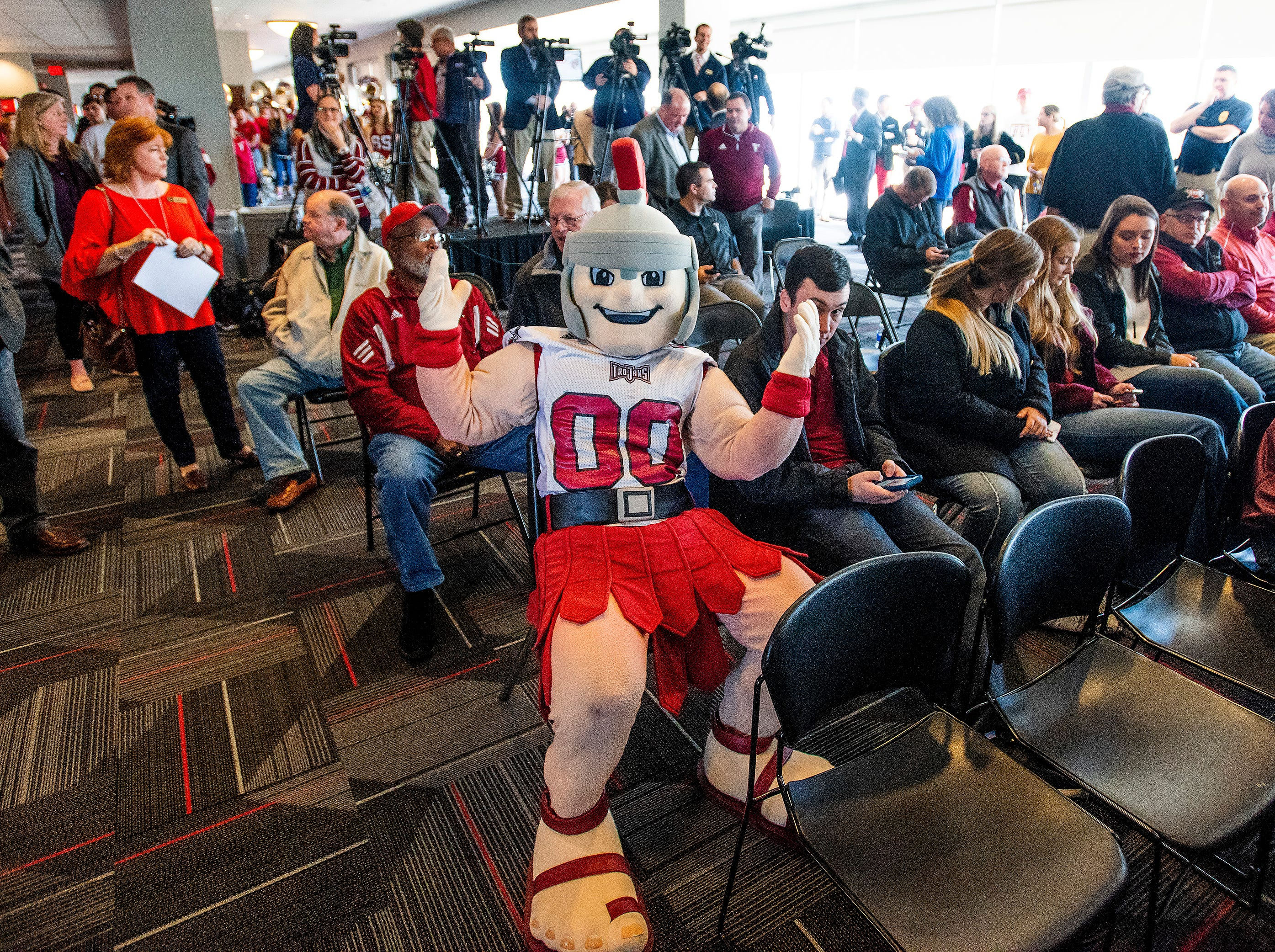 Try Mascot T-Roy watches as new Troy University Head Football Coach Chip Lindsey is introduced on the Troy campus in Troy, Ala., on Friday January 11, 2019.