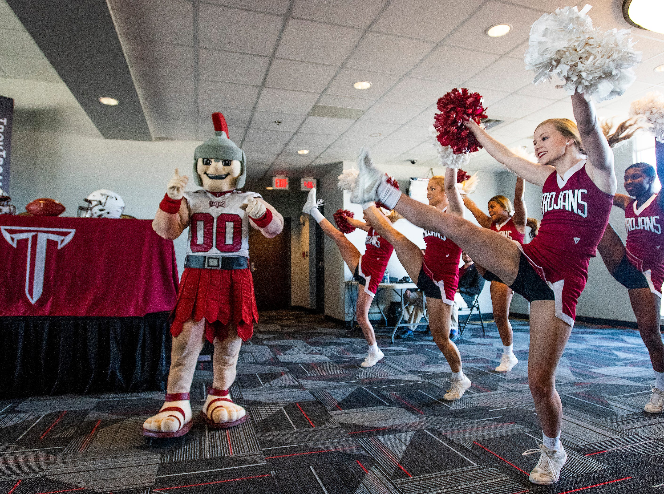 Troy Cheerleaders welcome new Troy University Head Football Coach Chip Lindsey on the Troy campus in Troy, Ala., on Friday January 11, 2019.