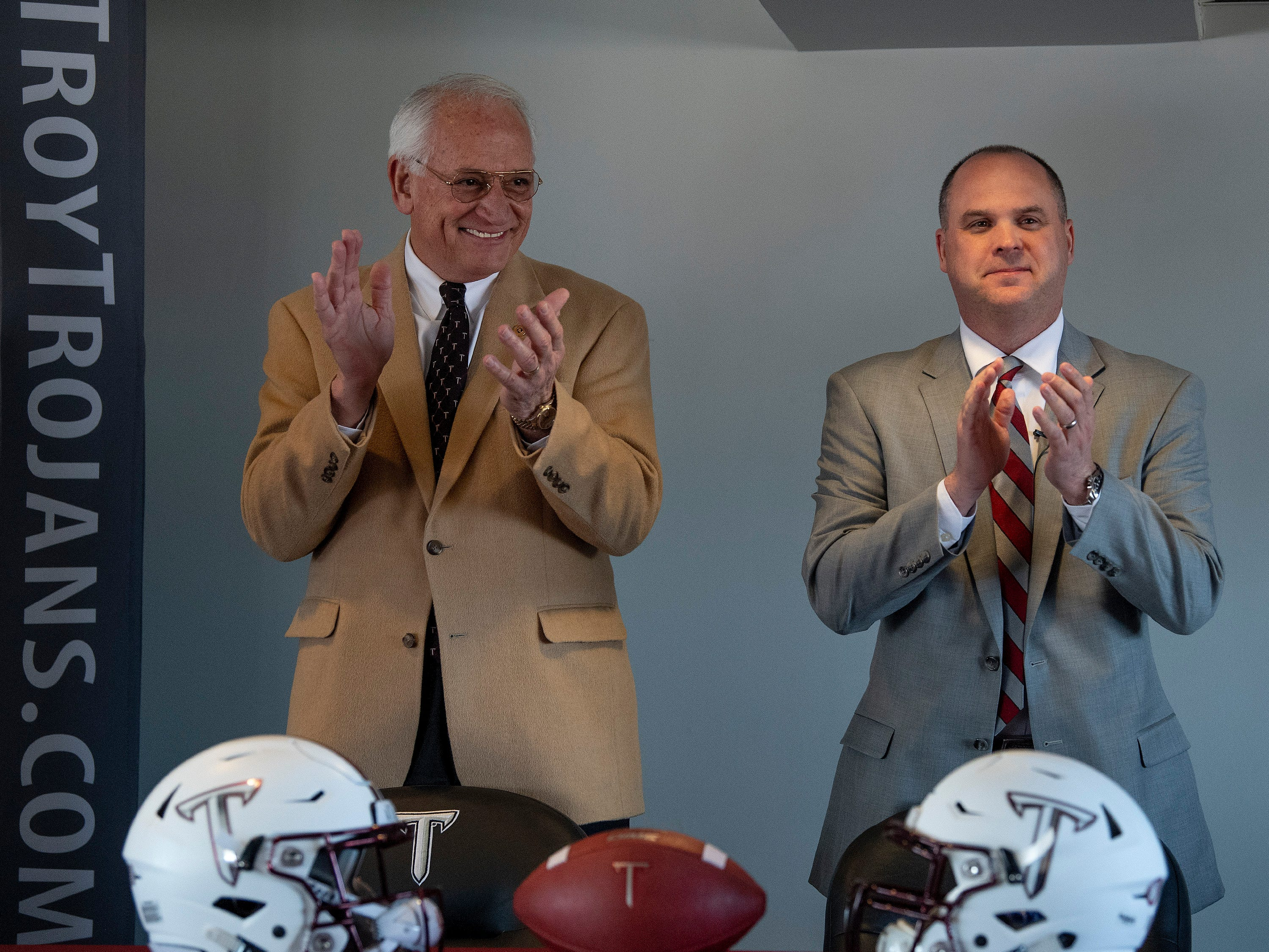 Troy University Chancellor Jack Hawkins, left, and Head Football Coach Chip Lindsey on the Troy campus in Troy, Ala., on Friday January 11, 2019.