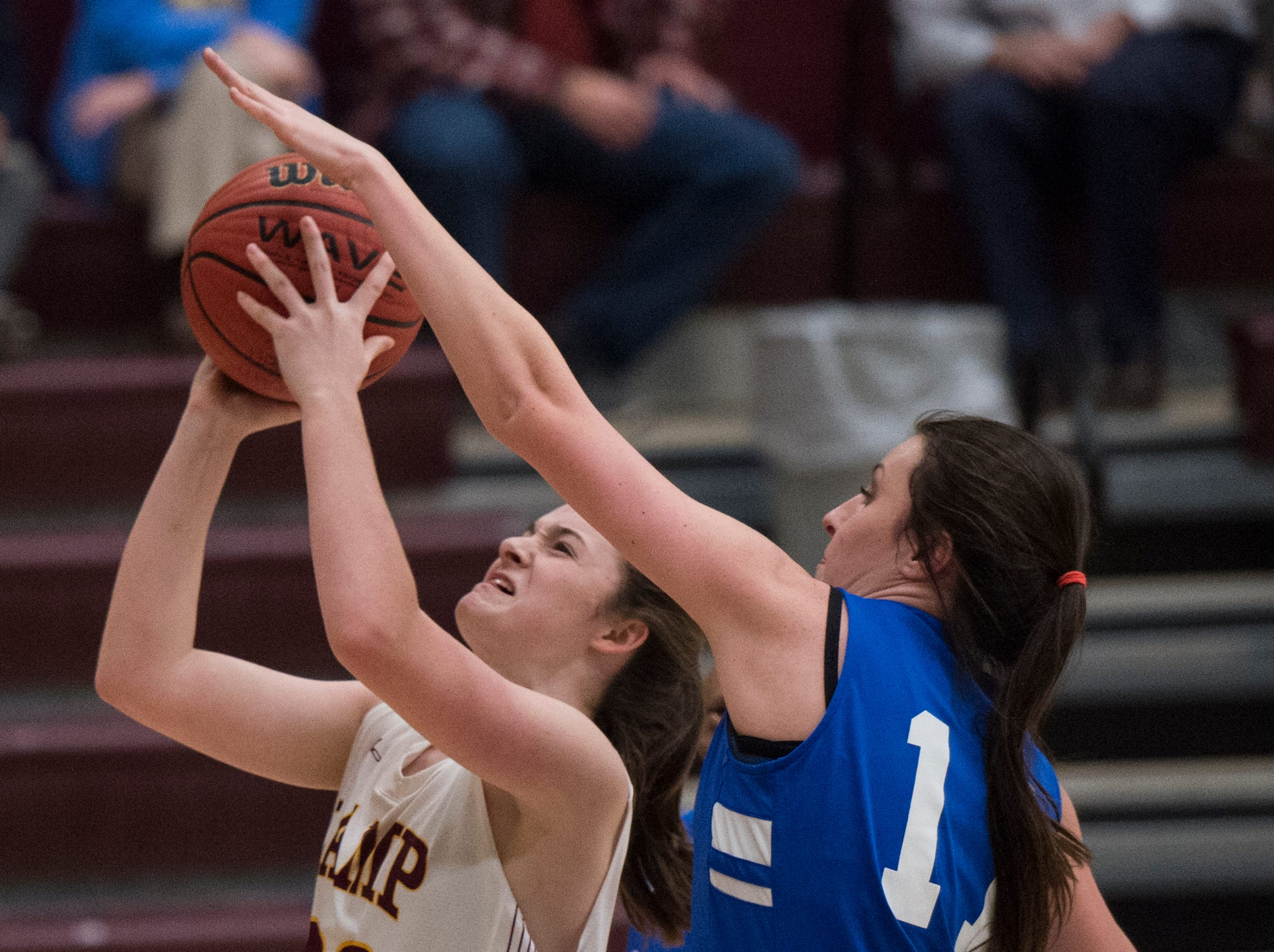 LAMP's Emily Russell (30) is blocked by Marbury's Taylor Wyatt (11) at LAMP high school in Montgomery, Ala., on Thursday, Jan. 10, 2019.
