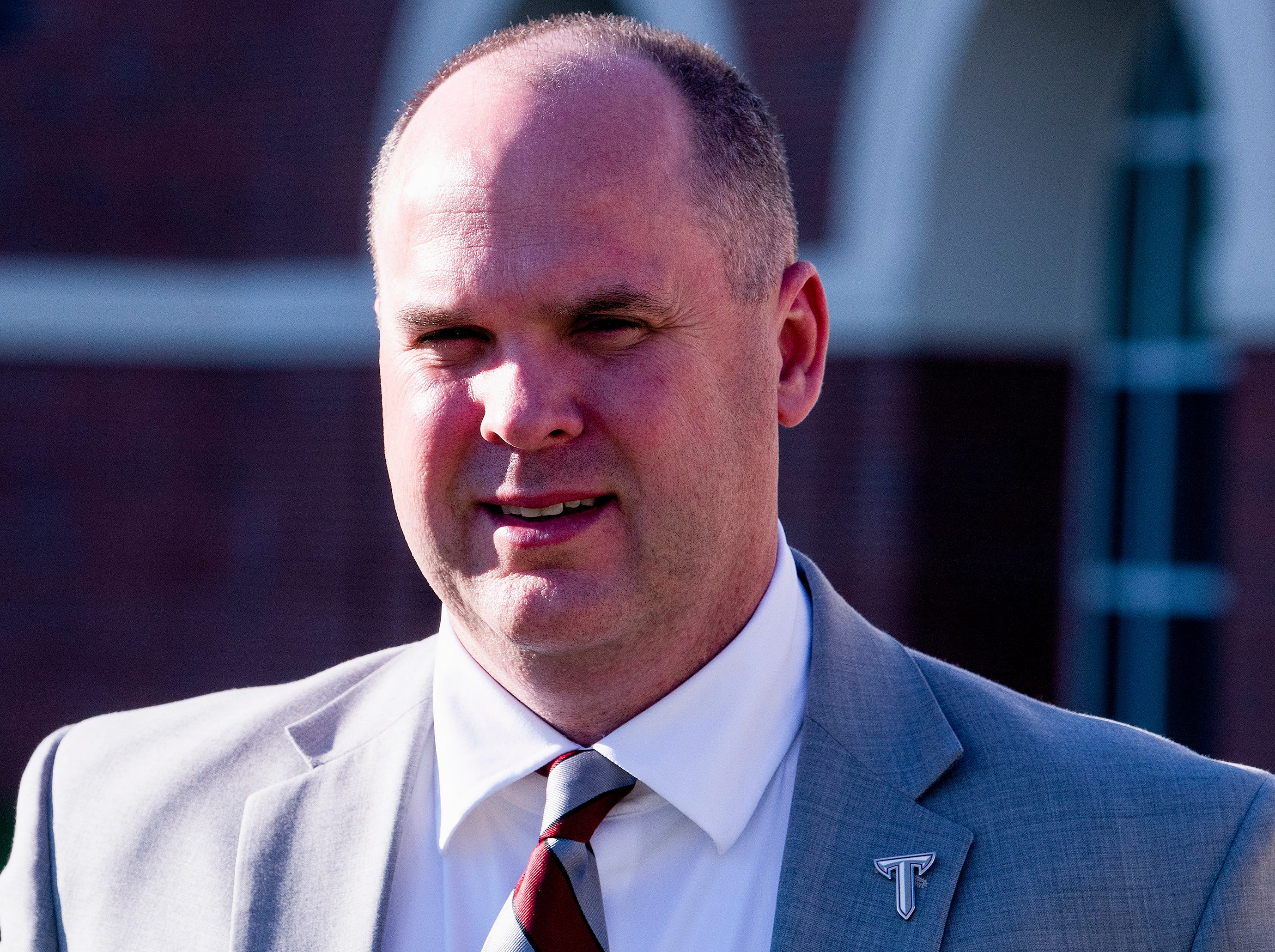 New Troy University Head Football Coach Chip Lindsey on the Troy campus in Troy, Ala., on Friday January 11, 2019.