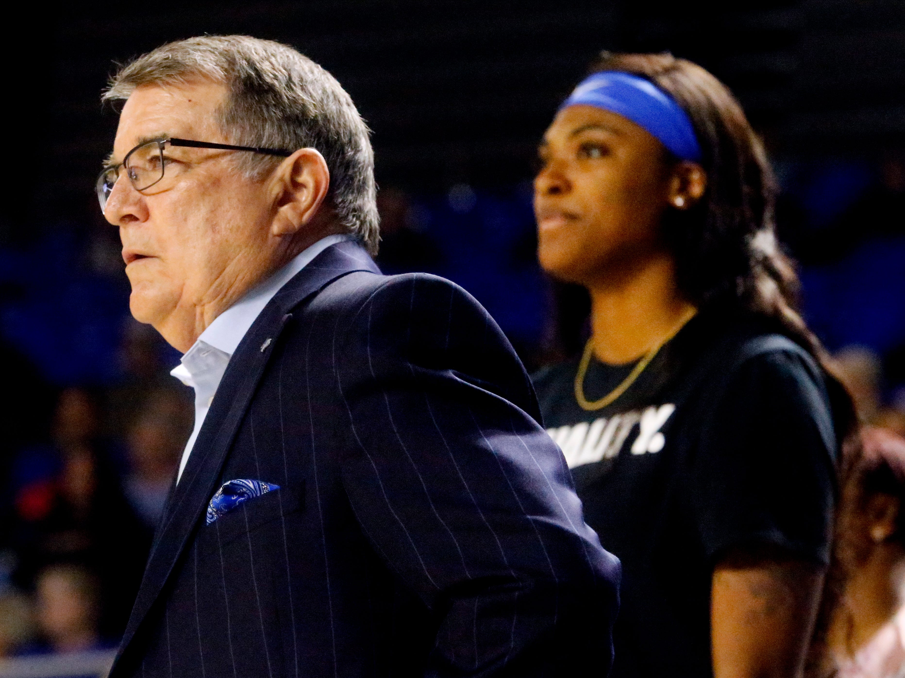 MTSU's head coach Rick Insell on the sidelines during the game against Southern Miss, on Thursday Jan. 10, 2019.