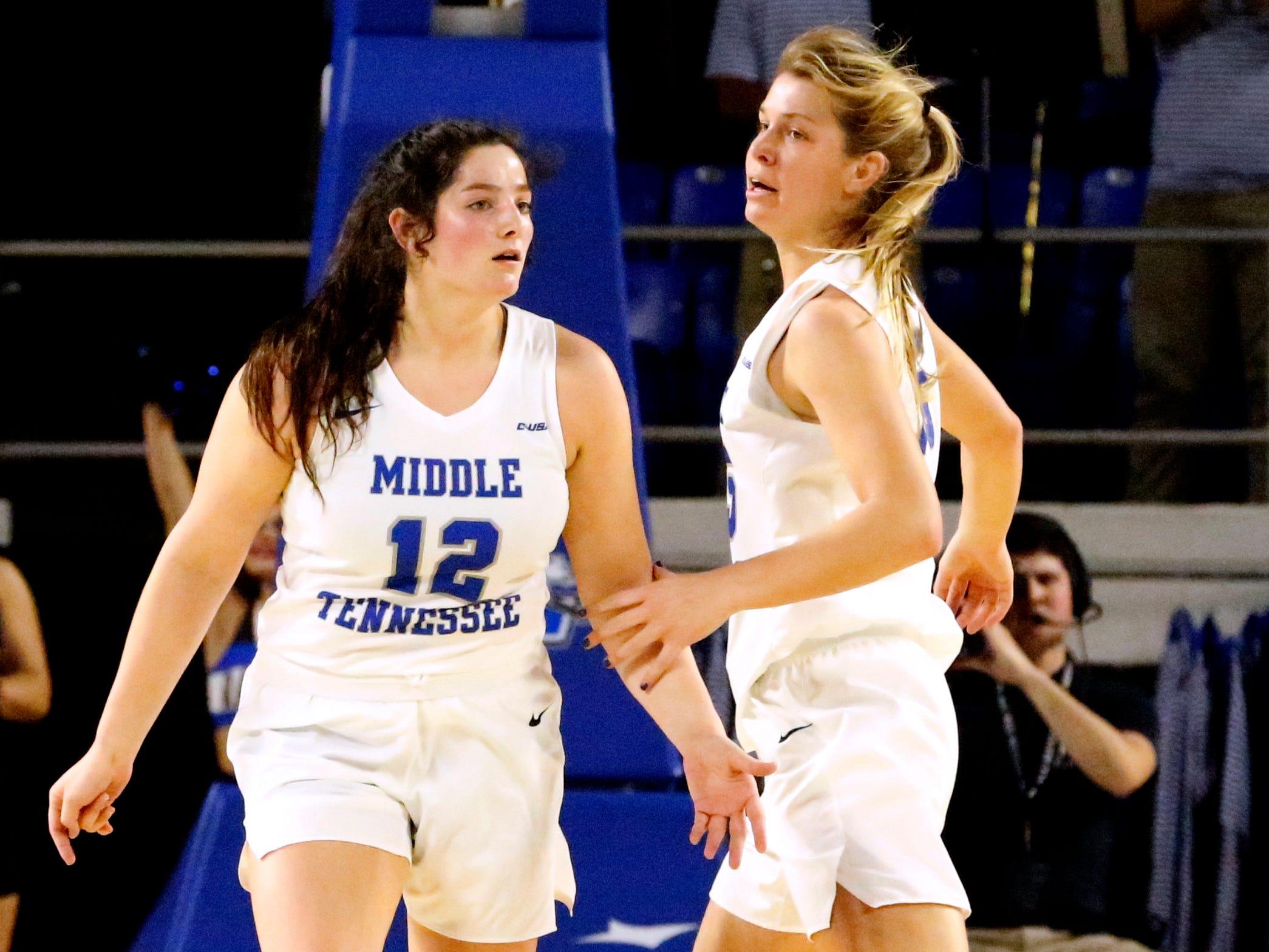 MTSU's guard Anna Jones (15) congratulates MTSU's guard Jess Louro (12) for shooting a three point basket on Thursday Jan. 10, 2019, against Southern Miss.
